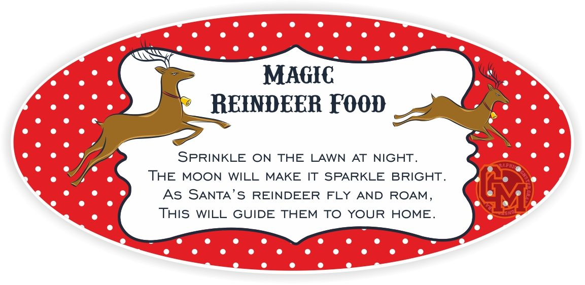 Magic reindeer food adhesive tag labels - Stickers protection cuisine ...