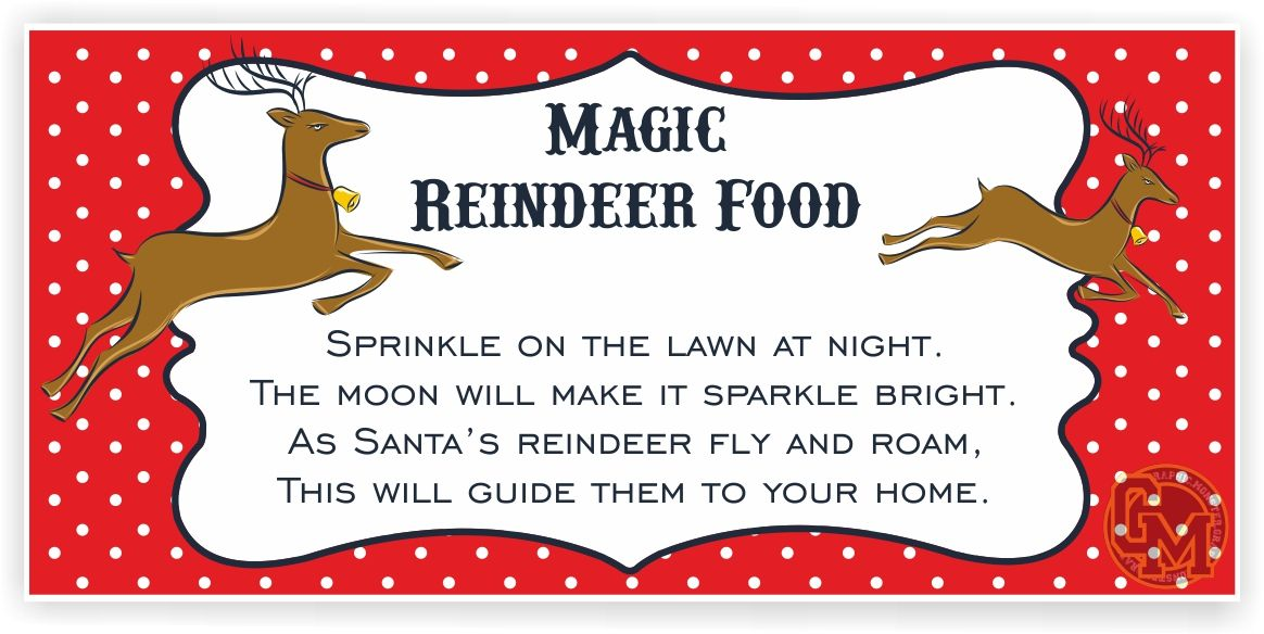 Magic Reindeer Food Adhesive Tag Labels