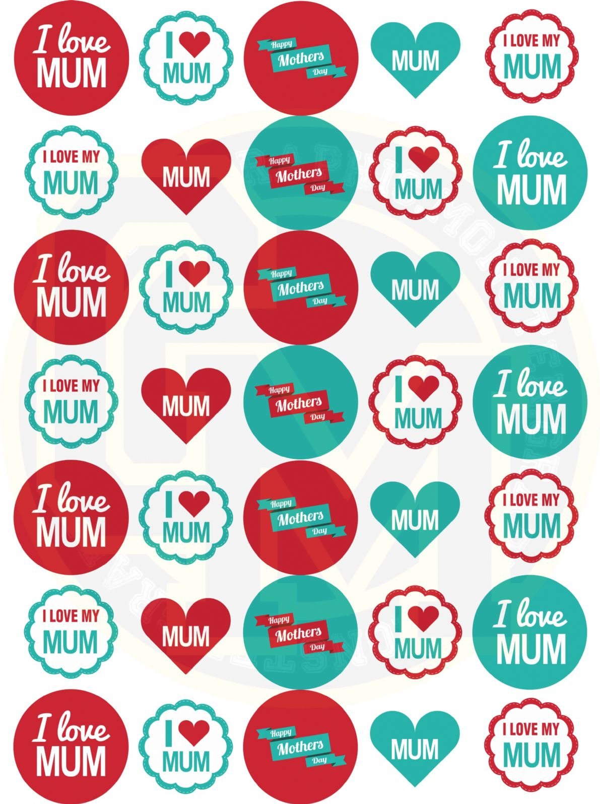 mothers day stickers 37mm paper rounds craft party bags sweet cones. Black Bedroom Furniture Sets. Home Design Ideas