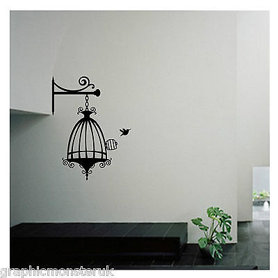 Birdcage With Bird Shabby Chic Cut Gloss Vinyl Wall Art Sticker Decal