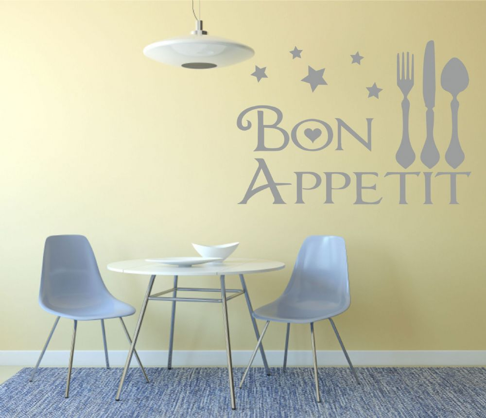 Bon appetit wall art decal kitchen dining room for Dining room wall art uk