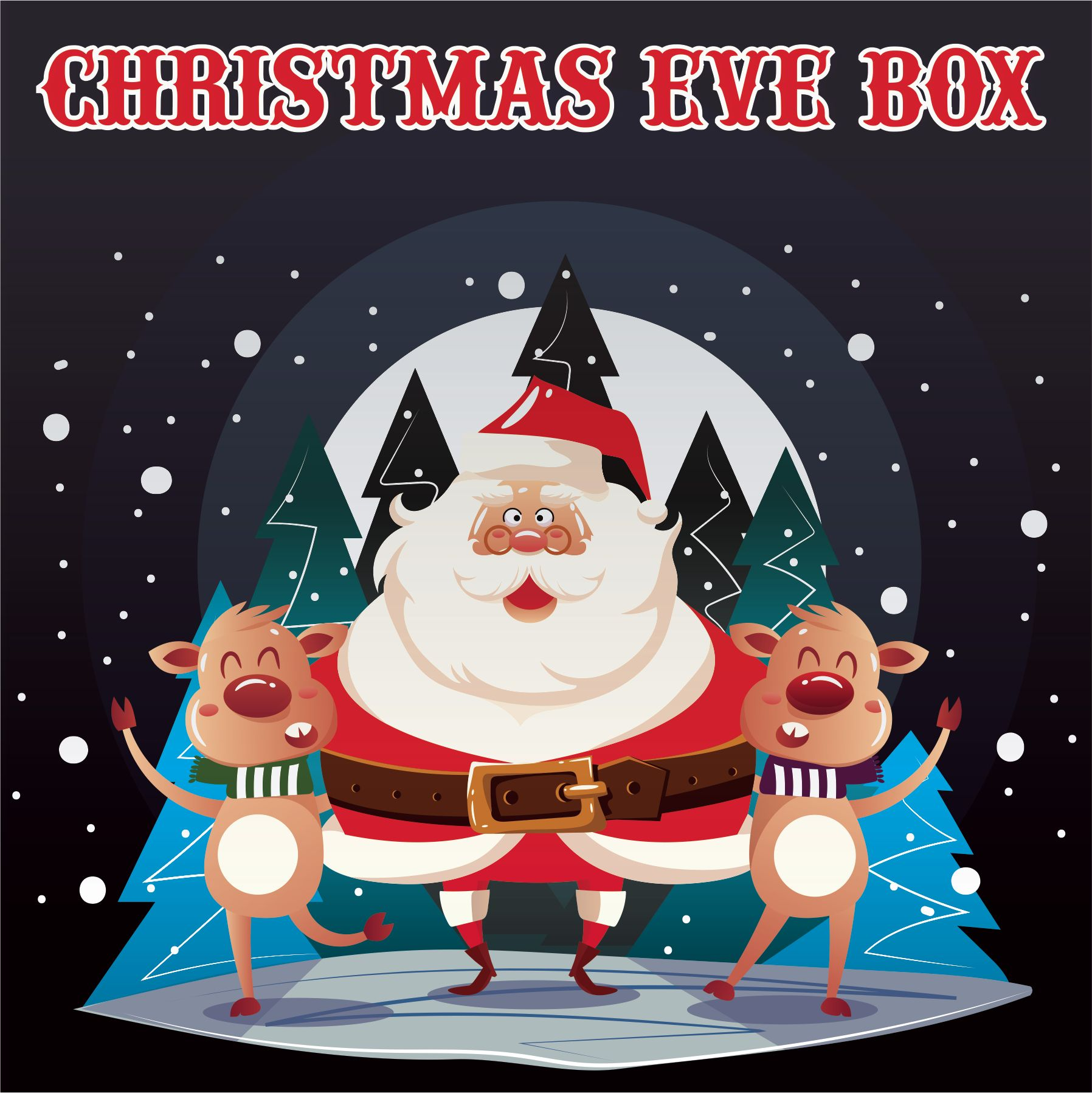 Christmas Eve Images.Christmas Eve Box Labels Santa And Reindeer Vinyl Label 150mm X 150mm