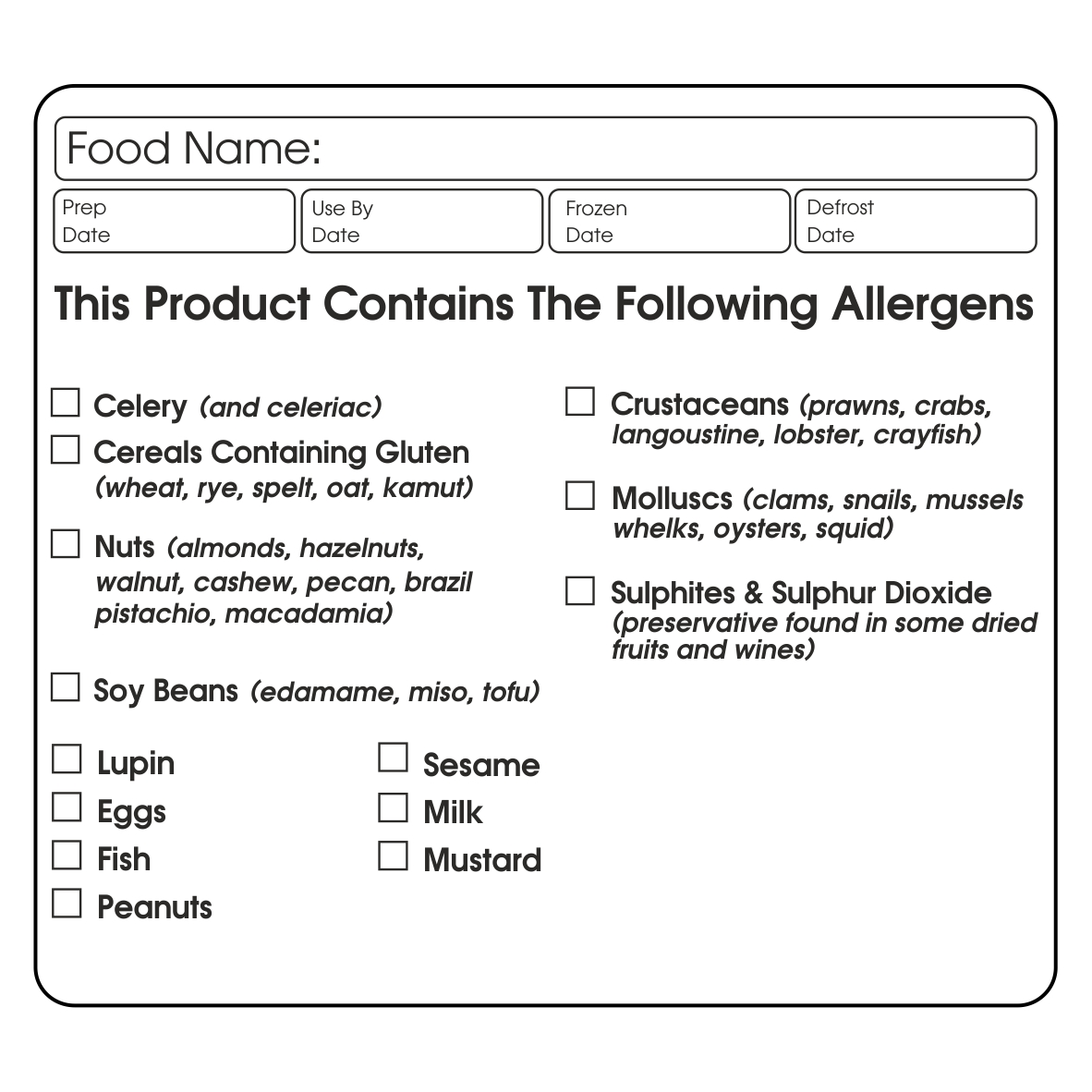food allergy label stickers - warning labels for packaging and labelling