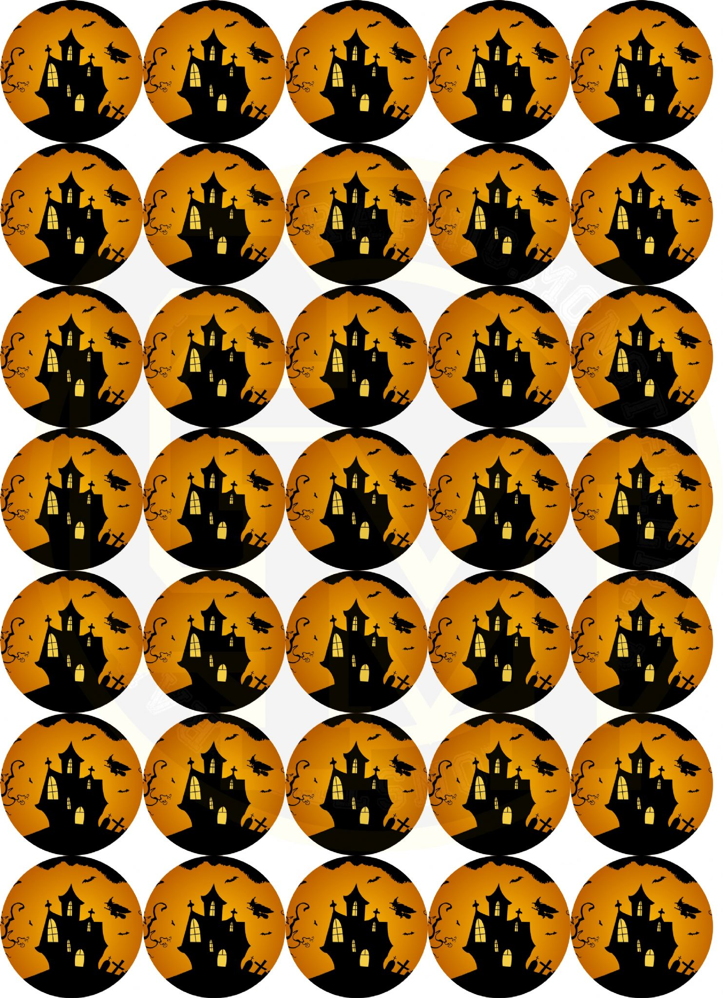 Halloween Stickers Matt Paper 37mm Rounds Part Bags