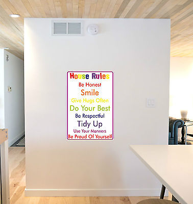 House Rules Wall Sticker Decal Printed Wall Art Funny Child Rules