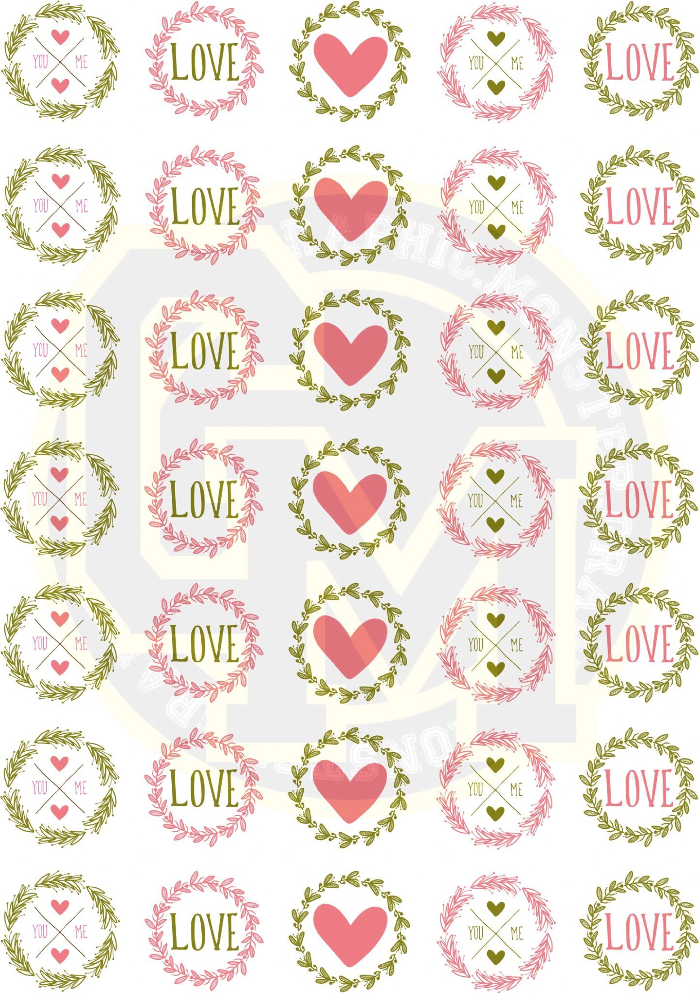 Love Heart Stickers 37mm Round Beautiful Floral Text Detail Wedding ...