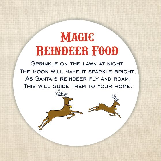Magic Reindeer Food Labels 37mm Round Paper Label