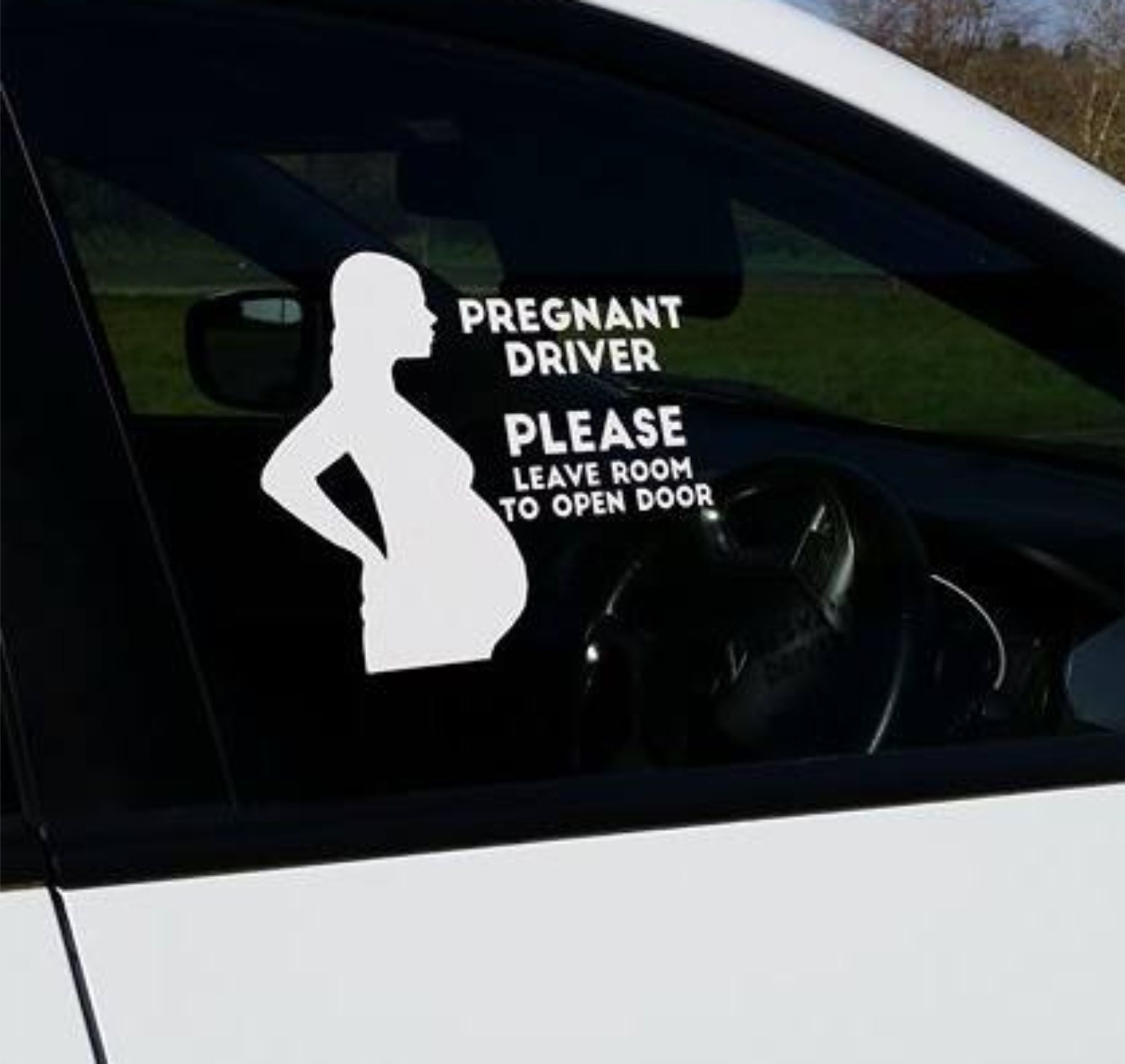 Pregnant driver car sticker 8098 p jpg