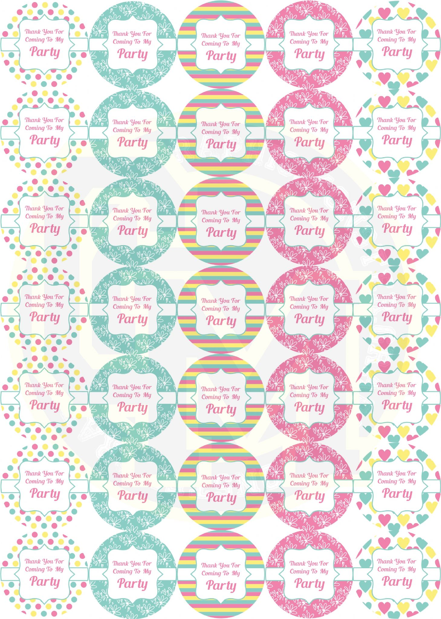pretty birthday party stickers sweet cone party bag labels