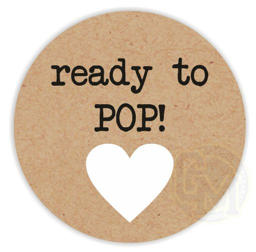 Ready to pop unisex baby shower stickers black text white heart craft paper style for Ready to pop printable