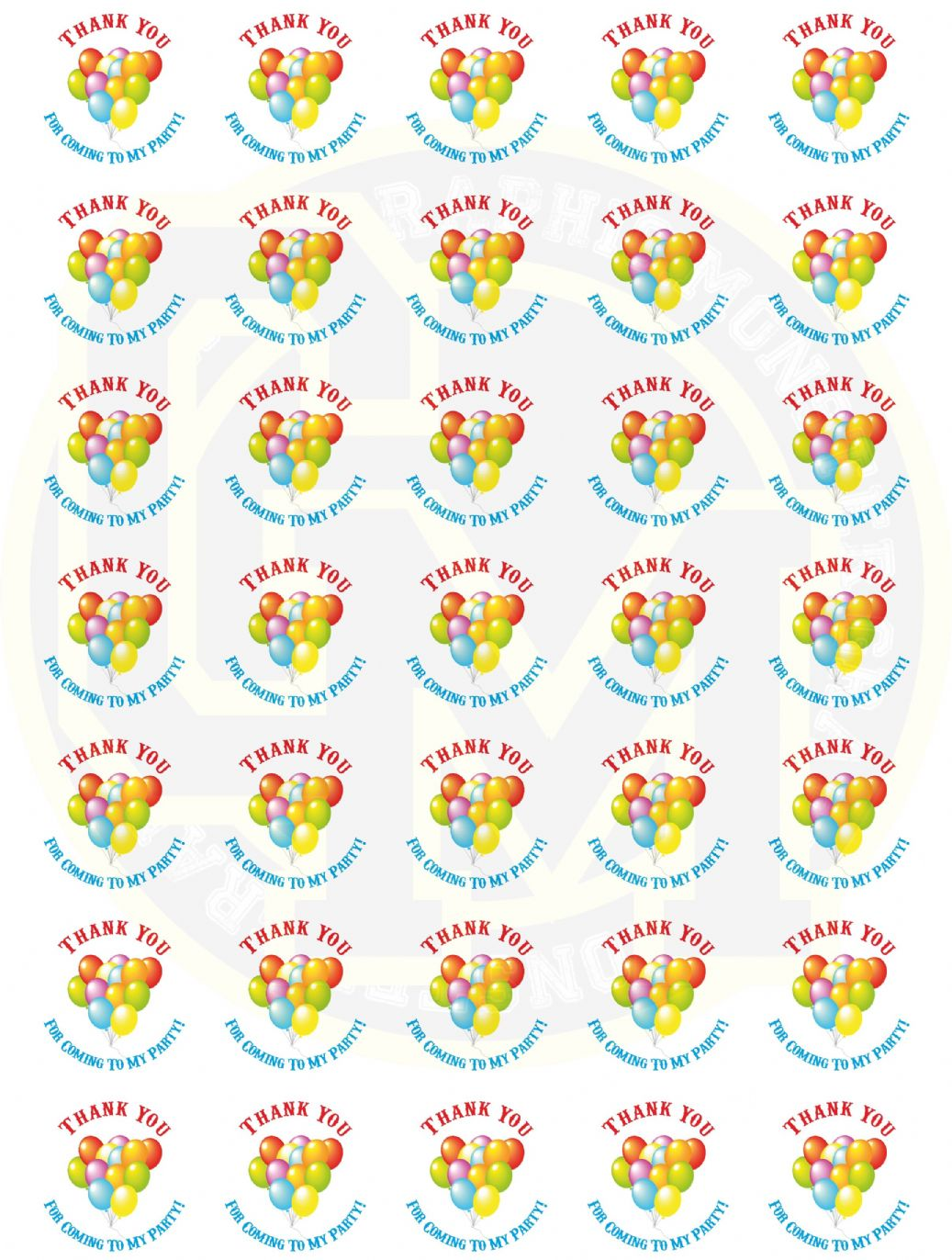 Unisex Birthday Stickers 37mm Round Paper Thank You For
